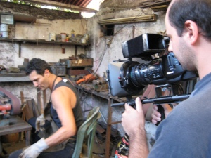 Jorge Crespo films Guillermo making a knife