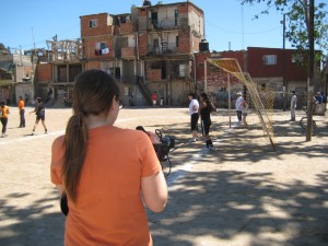 Ginger Gentile films a game in Villa 31 (Retiro Shantytown) in Buenos Aires