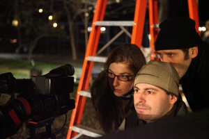 Co-directors Ginger Gentile and Gabriel Balanovsky check a shot in the Sony HD camera with 35mm lens with DoP Jorge Crespo