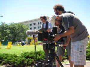 """Crew films b-roll outside of the """"flower"""" statute for Dog Walker Docu."""