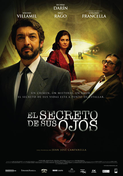 Movie poster for The Secret of Their Eyes, Francella is to the right, no mustache.
