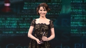 Natalia Oreiro accepts Best Actress Awards for Clandestine Childhood.