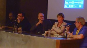 Why do we need film festivals? Left to right: Rodney Perkins (USA), Angel Sala (Spain), the moderator, Nadia Dresti (Italy) and Marcelo Panozzo (Argentina).