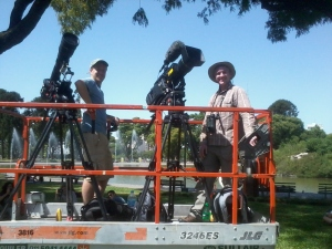 Shooting on a scissor lift in Centenary Park, BA City.