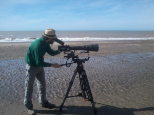 Filming on the beaches of Río Negro.