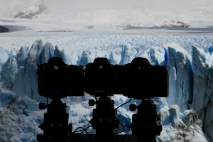 Lining up cameras while shooting in Perito Moreno Glacier.