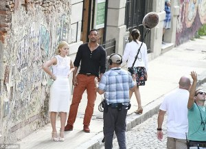 Will Smith and Margot Robbie on set in La Boca, Buenos Aires.