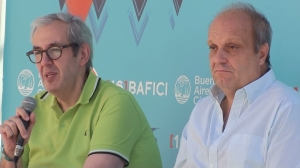 Festival director Marcelo Panozzo (left) and Minister of Culture Hernán Lombardi.