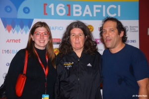 Left to right, co-director Ginger Gentile, coach Mónica and co-directo Gabriel Balanovsky. Picture by Virginia Rojas.