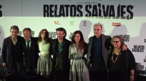 The stars from Wild Tales, left to right: Ricardo Darín, Oscar Martínez, Julieta Zylberberg, Leonardo Sbaraglia, Érica Rivas, Darío Grandinetti and Rita Cortese.