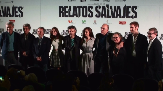 Left to right: producer Hugo Sigman, actors Ricardo Darín, Oscar Martínez, Julieta Zylberberg, Leonardo Sbaraglia, Érica Rivas, Darío Grandinetti, Rita Cortese, writer/director Damián Szifron and producer Axel Kuschevatzky.